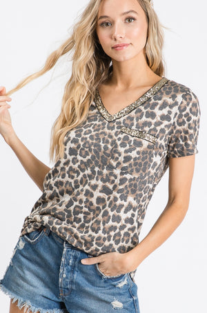Leopard Print Sequin V-Neck Shirt