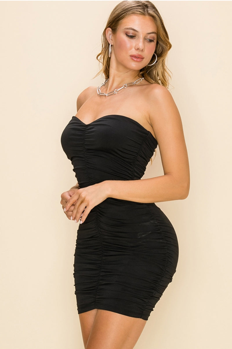 Heart Shaped Ruched Mini Black Dress