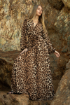 Leopard Long Sleeve Wrap Dress
