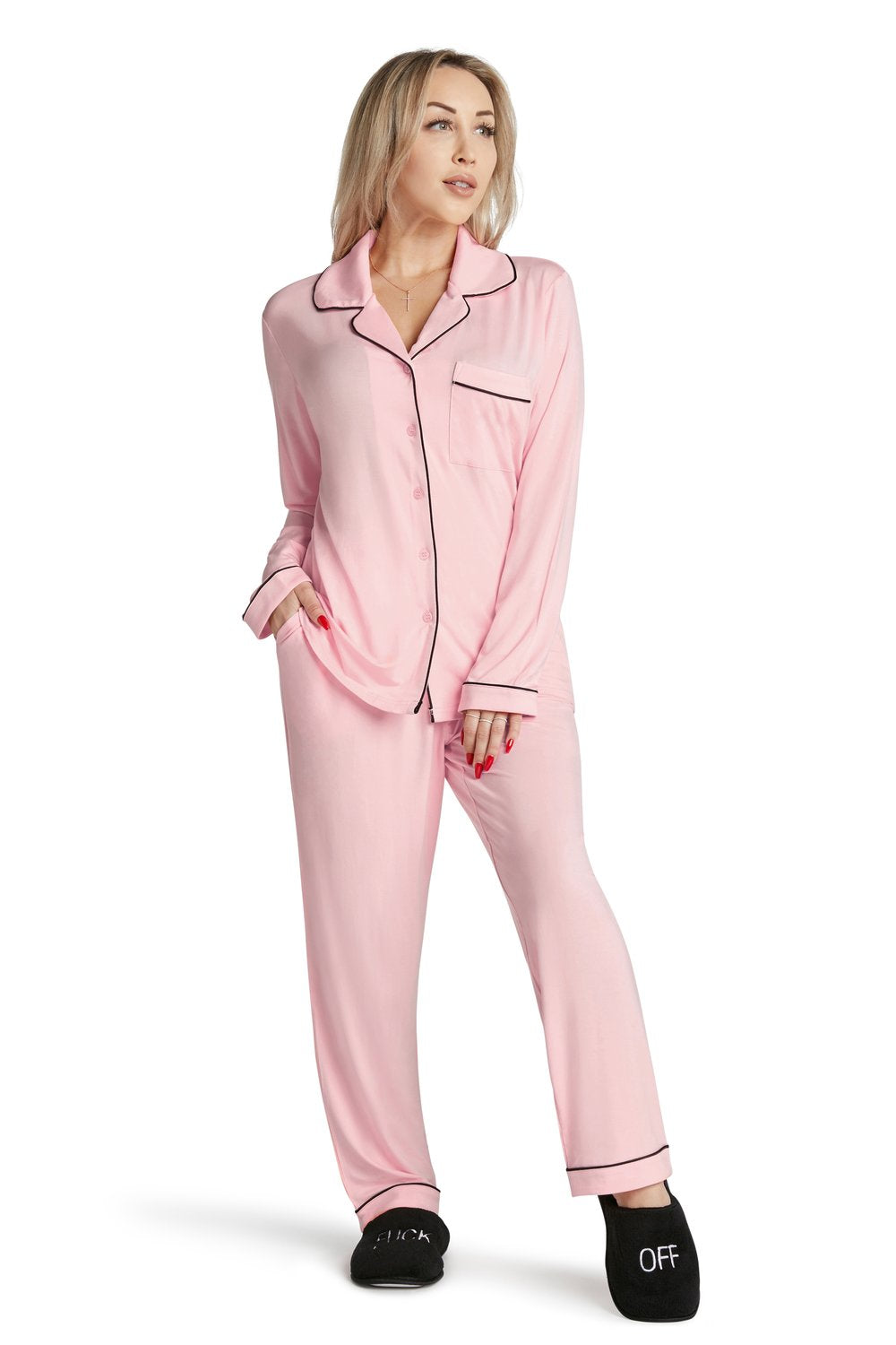 Pink Lightweight PJ Set- Wake Me Up For Champagne