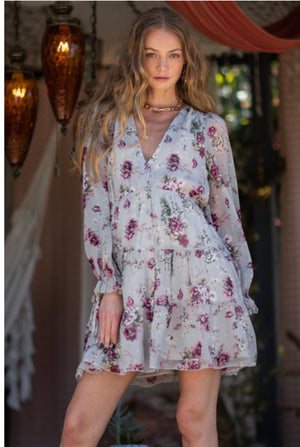 Floral Long Sleeve Mini