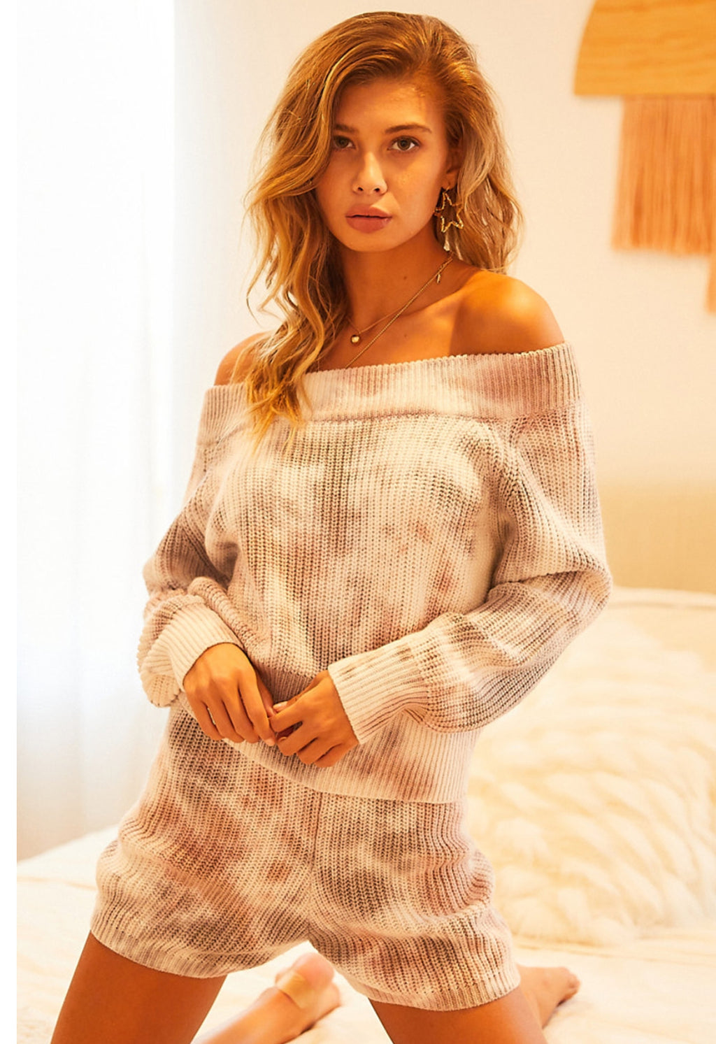 Tie Dye Sweater Off Shoulder