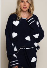 Always Feel Loved Navy and White Teddy Sweater
