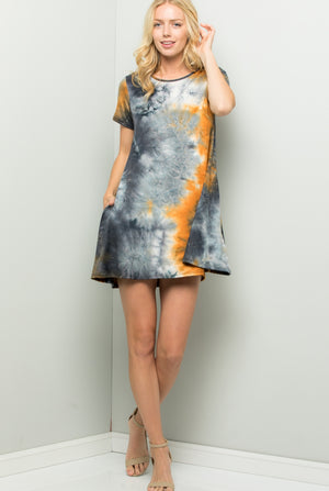 Short Sleeve Tie Dye Print Dress