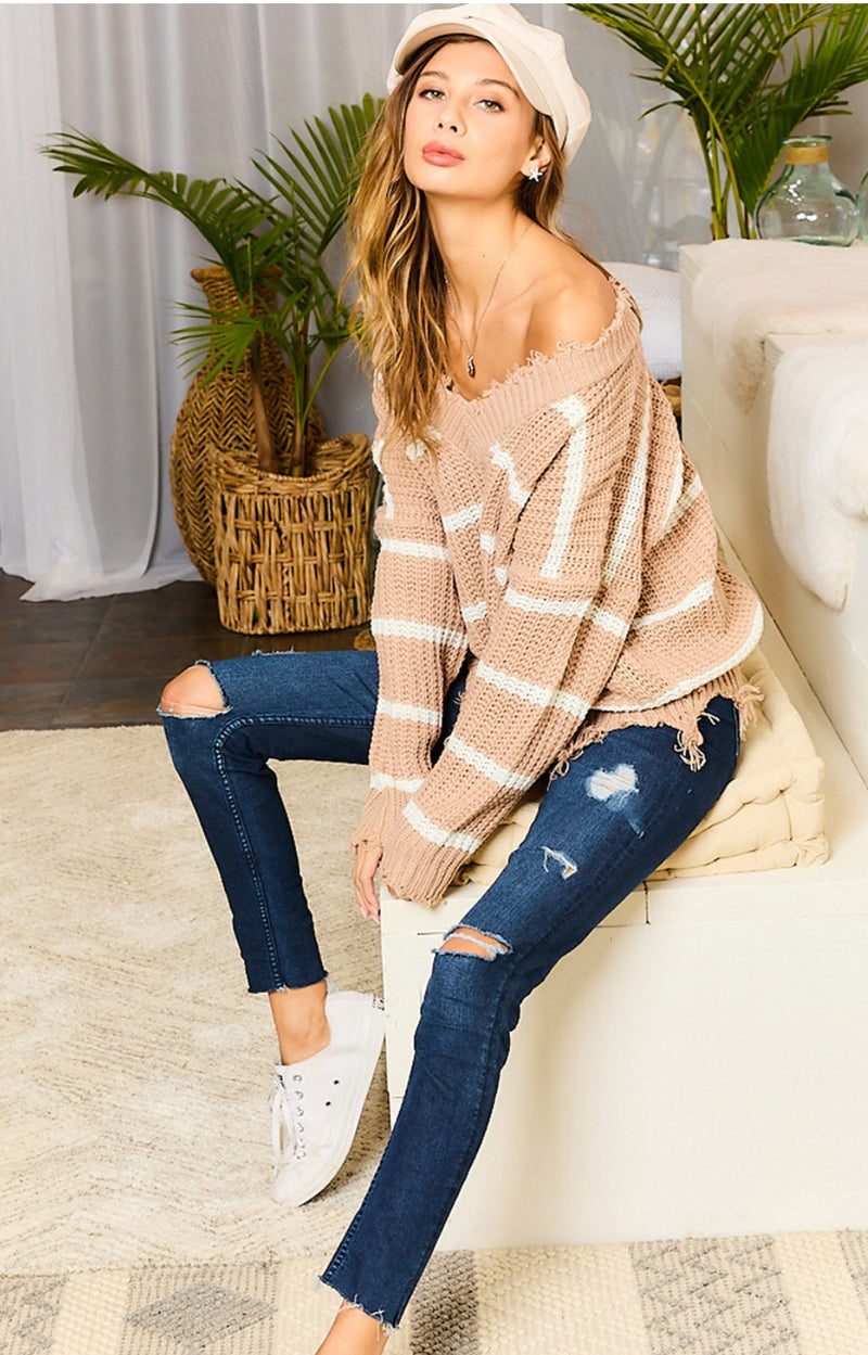 Frayed Taupe and White Sweater