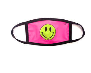Neon Pink Happy Face Mask