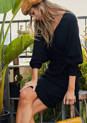 Dolman Sleeve Back Tie Black Knit Dress