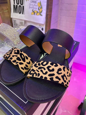 Athena Tan/Black Cheetah Sandal