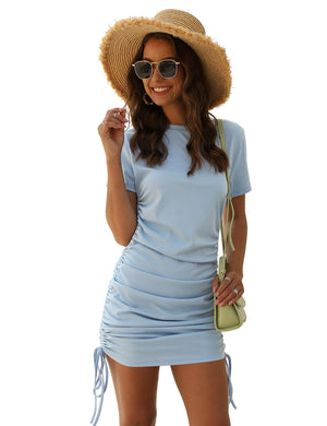 Crewneck Draped Bodycon Dress