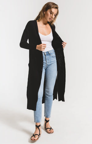 Black Rib Duster Cardigan