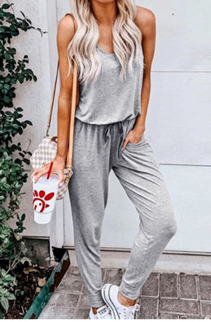 Waist Drawstring Casual Jumpsuit