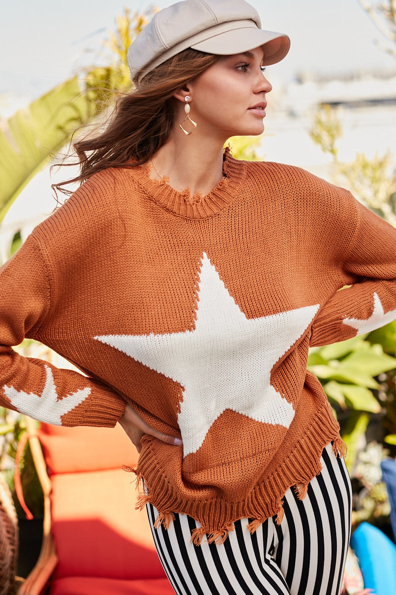 Almond Distressed Star Sweater