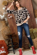 Light Taupe Leopard Distressed Sweater