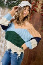 Multi Stripe Distressed Sweater