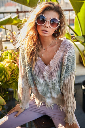 Olive and Sand Tie Dye Distressed Sweater