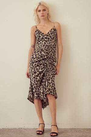 Olive Leopard Hi Lo Dress