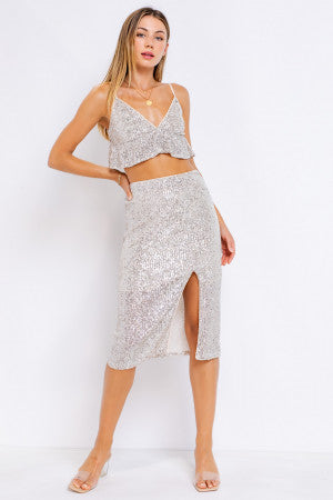 Beige Silver Sequin Skirt