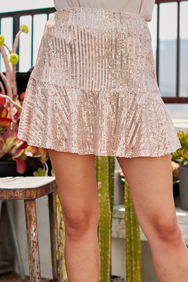 Pink Champaign Sequin Skirt
