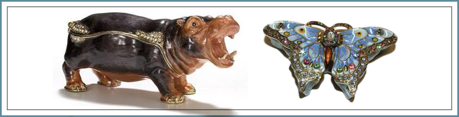 bejeweled trinket boxes animals plants bugs butterfly bees