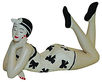 French Style Bathing Beauty Figurine Figure Shelf Sitter Bow Swim Suit Small - The Ritzy Gift