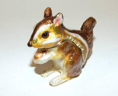Squirrel Bejeweled & Enameled HingedTrinket Box W/Austrian Crystals - The Ritzy Gift