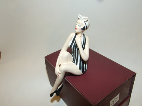 Bathing Beauty Figurine Figure Shelf Sitter Black & White Stripe Art Deco - The Ritzy Gift