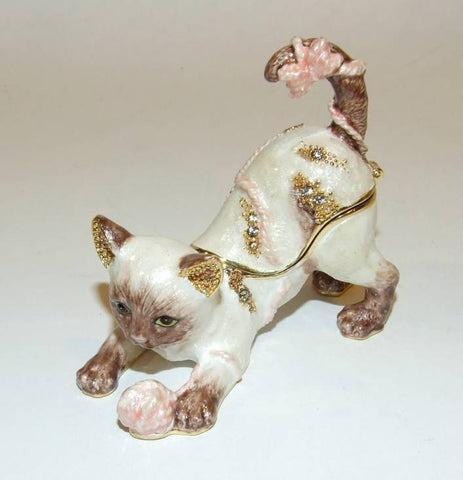 Cat Kitten With Yarn Hinged Enameled Trinket Box Swarovski Crystals - The Ritzy Gift