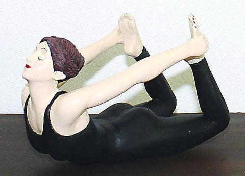 Yoga Girl in Black Leotard Figurine Figure On Stomach - The Ritzy Gift