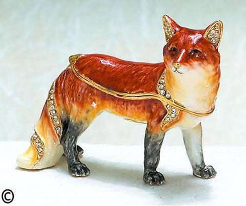 Red Fox Bejeweled Enameled Hinged Trinket Box - The Ritzy Gift