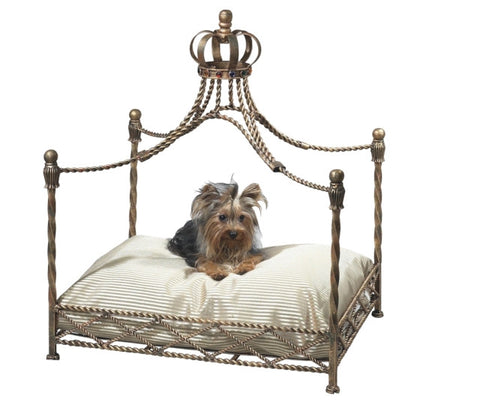 Antique Gold Iron Crown Canopy Pet Bed - The Ritzy Gift
