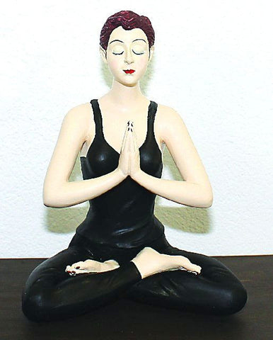 Yoga Girl in Black Leotard Figurine Figure With Crossed Legs New - The Ritzy Gift