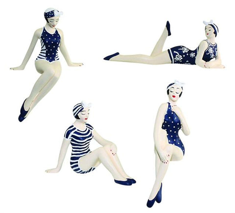 Retro Bathing Beauty Figurine 4pc Set | 1920s Swim Suit Navy Shelf Sitters - The Ritzy Gift