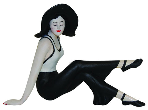 French Style Bathing Beauty Figurine Figure Shelf Sitter Black & White Knees Up - The Ritzy Gift
