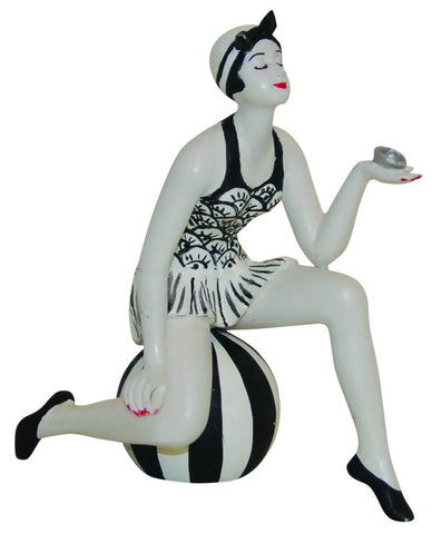 French Style Bathing Beauty Figurine Figure Shelf Sitter Sitting on a Ball Small - The Ritzy Gift