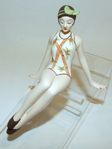 Bathing Beauty Figurine Figure Shelf Sitter Bamboo Brown Green White Art Deco Mini - The Ritzy Gift