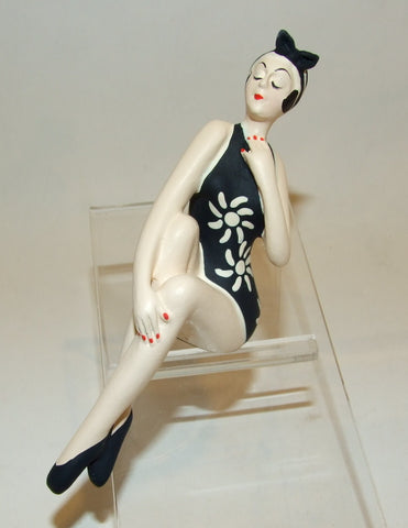 Bathing Beauty Figurine Figure Shelf Sitter Black & White Floral Print Art Deco - The Ritzy Gift