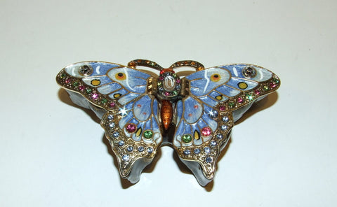 Bejeweled Enameled Butterfly Hinged Trinket Box W/Swarovski Crystals Large Blue - The Ritzy Gift