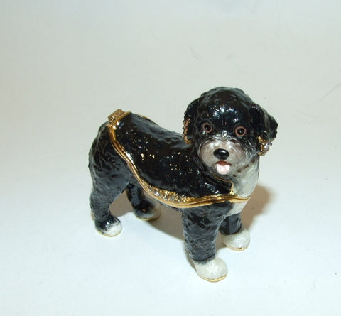 Portuguese Water Dog Enamel Hinged Bejeweled Trinket Box Swarovski Crystal - The Ritzy Gift