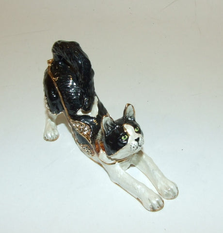 Stretching Cat Enameled Hinged Trinket Box Swarovski Crystals - The Ritzy Gift