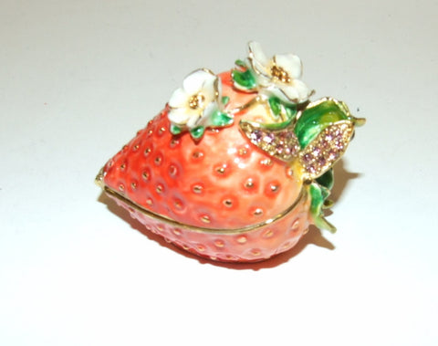 Strawberry Bejeweled & Enameled Hinged Trinket Box Swarovski Crystals - The Ritzy Gift