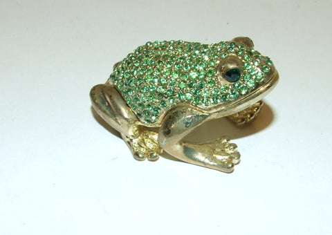 Green Crystal & Brass Frog Hinged Bejeweled Trinket Box Swarovski Crystal - The Ritzy Gift