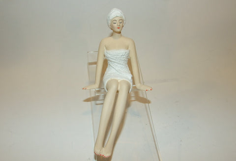 Bathing Beauty Figurine Figure Shelf Sitter Spa Girl With Towel Sitting Mini - The Ritzy Gift