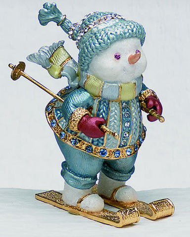 Skiing Snowman Bejeweled & Enameled Hinged Trinket Box - The Ritzy Gift