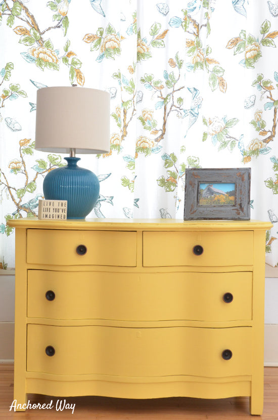 $10 Yellow dresser transformation.