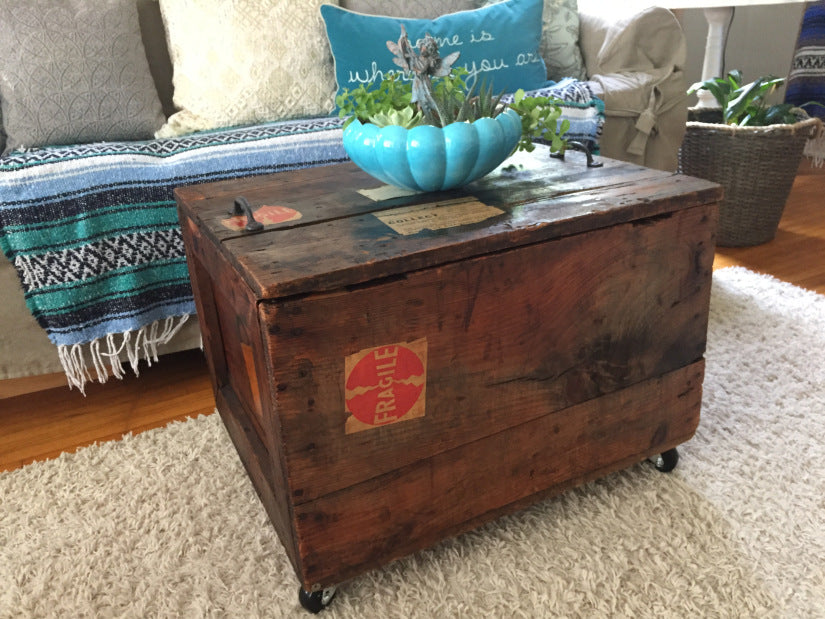 Railroad shipping crate coffee table.