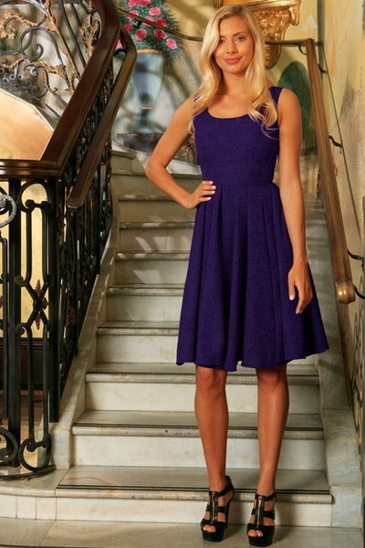 Purple Floral Sleeveless Skater Cocktail Prom