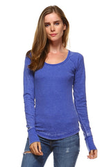 Women's Long Sleeve Thermal Mineral Wash Tops