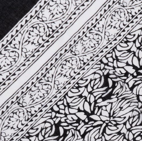 Sarong Pareo black flowers in block print 100%