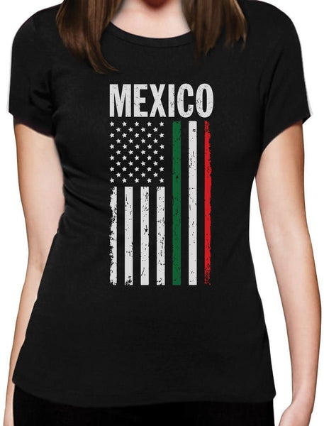 Mexican American Flag Mexico Usa Women T-shirt