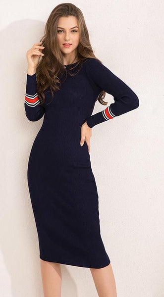 Striped Fitness Elegant Knitted Sweater Dress